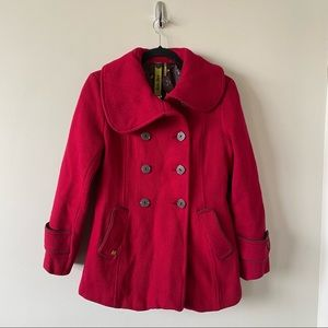 Soia & Kyo-Lipstick Red Ribbed Wool Blend Jacket